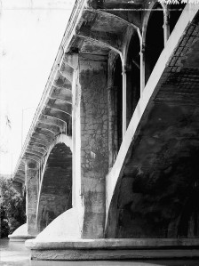 Deterioration was evident as the bridge entered the 1980s and so was the lasting elegance of its design. Photo courtesy Library of Congress, Prints and Photographs Division, HAER, Reproduction number HAER WIS,40-MILWA,51--2