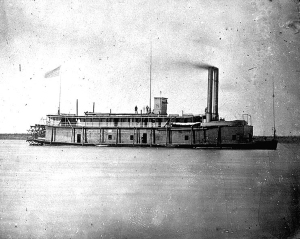 "The U.S.S. Signal was a ""tinclad"" paddlewheel steamer built in 1862. Disabled by Confederate artillery fire on the Red River in Louisiana on May 4, 1864, the ship was burned by its crew to prevent its capture. Photo courtesy U.S. Naval Historical Center"