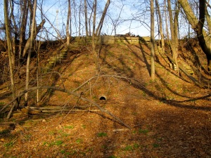 The original 1890s park design called for construction of a tunnel under what was then a busy railroad right-of-way. In the 1970s, the eastern section of the park, which had been a natural ravine, was filled and leveled for Riverside High School's athletic field. The western tunnel portal can still be seen.