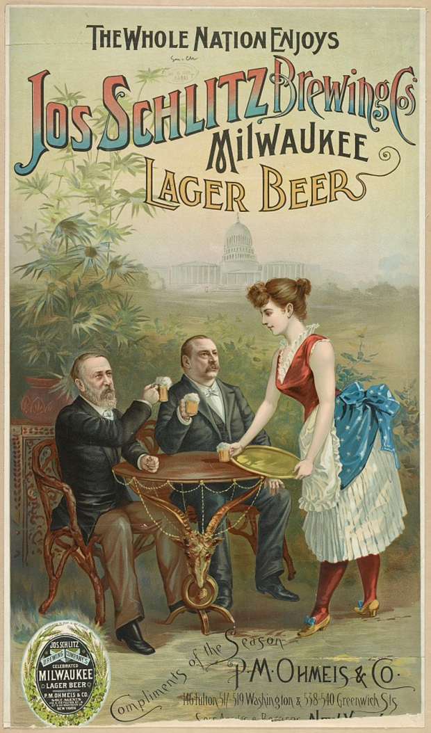 In 1888, Milwaukee's Jos. Schlitz Brewing Company distributed this 15 x 26-inch chromolithograph poster. Courtesy Library of Congress Prints and Photographs Division, LC-DIG-pga-04220 (digital file from original print).