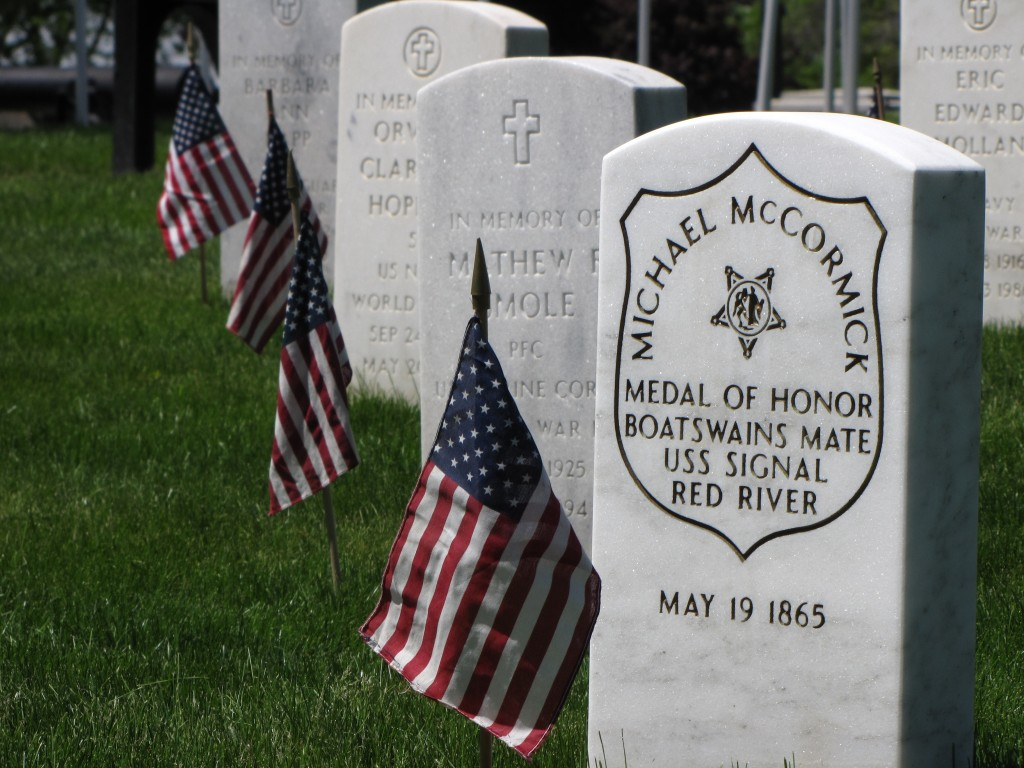 May 30 was once set aside as a day to remember those who died in the Civil War, such as U.S. Navy Boatswain's Mate Michael McCormick, who was born in Ireland in 1833 and died on May 19, 1865 at the age of 32. He is buried in Wood National Cemetery in Milwaukee. Photo by Carl Swanson