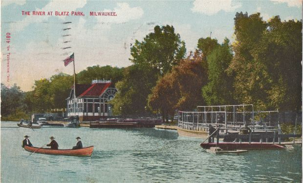 The Blatz Park pavilion was handy for river traffic. The boat tied at the base of the flagpole may be a steam-powered launch. This postcard view was taken around 1900. Collection of Carl Swanson