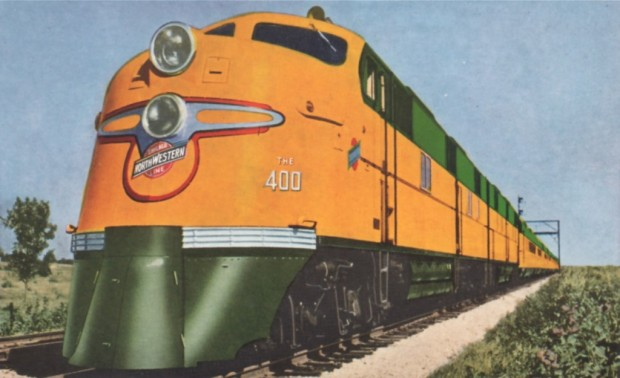 The 400s were dieselized in the late 1930s and gave the formerly steam-powered trains a modern streamlined look. Postcard from the collection of Carl Swanson