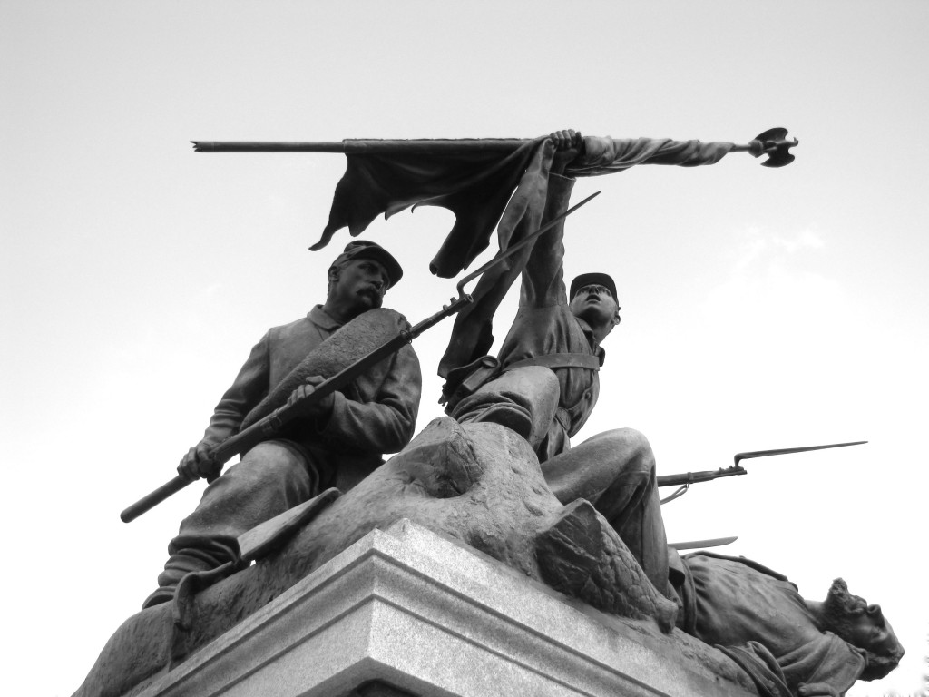 """""""Victorious Charge"""" is the name of the sculpture on Wisconsin Avenue near the Central Library. It memorializes the courage and sacrifice of Wisconsin soldiers in the Civil War. Photo by John Swanson"""