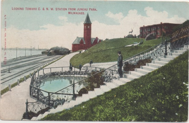 Looking south from Juneau Park as a steam-powered passenger train departs Chicago & North Western's Lake Front Station heading north toward Shorewood. Collection of Carl Swanson