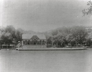 The Blatz Park river landing. Note the gas lights lining the landing stage and the tidy park lands under the shade trees. Courtesy Milwaukee County Historical Society