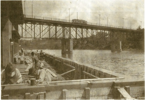 Built to last. The streetcar is gone, a new Locust Street bridge stands in place of the one shown here, even the Gordon Park bathhouse has long since been torn down and trucked away, but the wall in this 1913 photograph still stands 100 years after its construction. Courtesy Milwaukee County Historical Society