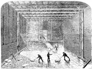 """Inside of ice warehouse 1871"" by Anonymous - Frank Leslie's Illustrated Newspaper, 4 Feb 1871. Licensed under Public domain via Wikimedia Commons - http://commons.wikimedia.org/wiki/File:Inside_of_ice_warehouse_1871.jpg#mediaviewer/File:Inside_of_ice_warehouse_1871.jpg"