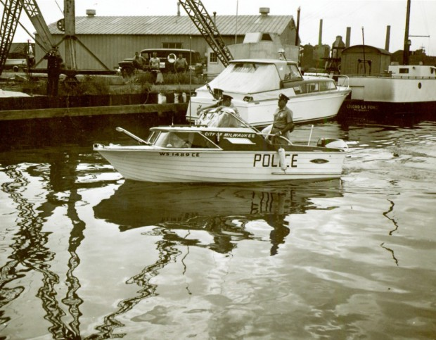 In 1962, Milwaukee Police were patrolling the city's rivers and harbors in this small cabin cruiser. Historic Photo Collection/Milwaukee Public Library