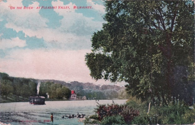 A steamboat heads for Blatz Park on the west bank of the Milwaukee River in this postcard view dating to around 1900. Steamboats operated between the park and North Avenue. The fare was 15 cents. Beer, however, was just a nickel. Carl Swanon collection