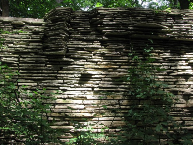This massive retaining wall spans a wooded ravine just north of Shorewood's Hubbard Park Lodge, and may date back to the long-gone Mineral Springs resort. Carl Swanson photo