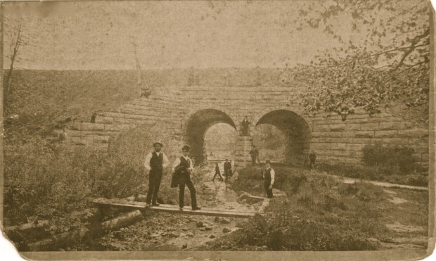 When Northwestern Union Ry. built north from the lakefront, it constructed these tunnels, one for a creek and one for a roadway, in present-day Hubbard Park in Shorewood. Courtesy Milwaukee County Historical Society