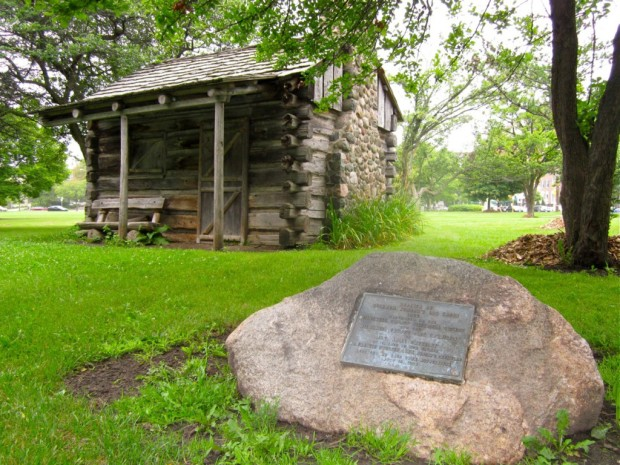 A replica of Juneau's original cabin was added to his namesake park in the 1940s. Photo by Rachel Swanson