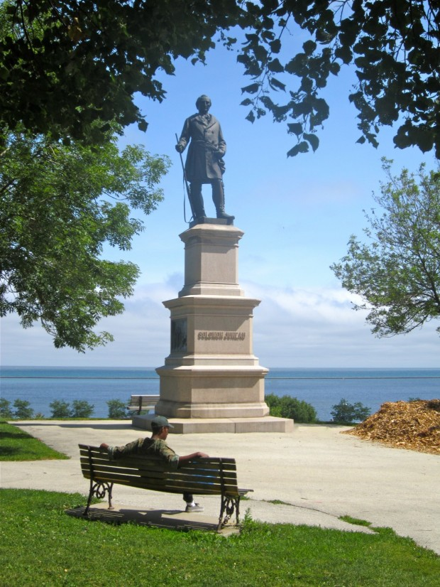 Photograph of Solomon Juneau statue in Milwaukee