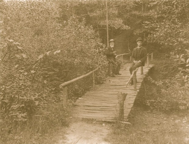 These dapper gents are enjoying the rustic bridge at Mineral Spring Park in the 1890s. Courtesy Milwaukee County Historical Society