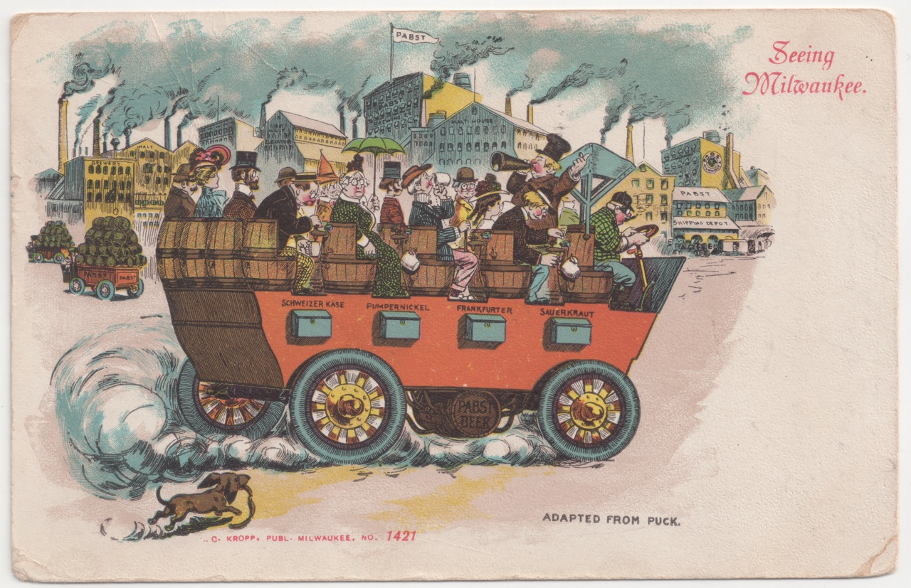 """Sightseers enjoy all Milwaukee has to offer in this comic postcard from the early 1900s. The vehicle features coin-operated beer dispensers, as well as bins containing schweizer kane, pumpernickel, frankfurter, and sauerkraut. The person who mailed this card in 1907 advised the recipient to """"Have a drink on us."""" Collection of Carl Swanson"""