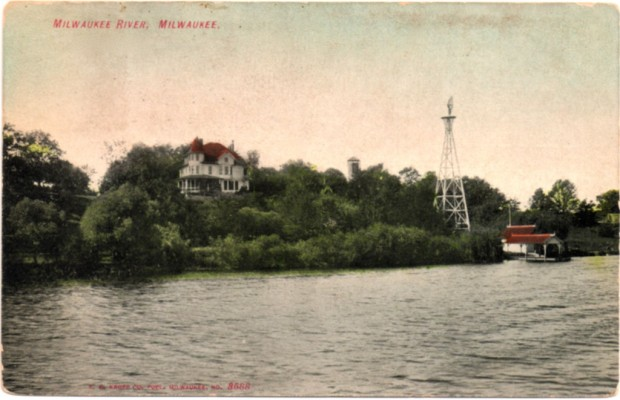 In the 1870s, wealthy Milwaukee families began buying land along the west bank of the Milwaukee RIver south of present-day Capitol Drive to build elaborate summer retreats far from the unhealthy city. One family's 30-acre tract became today's Kern Park. This pre-1900 postcard view depicts a typical summer residence on the river, complete with windmill and boathouse. Collection of Carl Swanson