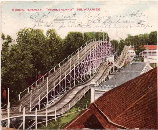 "The Shorewood amusement park included a ""scenic railway"" (a roller coaster). The writing on this 1906 postcard reads, "" It's great riding on this when going down that steep down-grade. A person thinks he will never stop."" Collection of Carl Swanson"