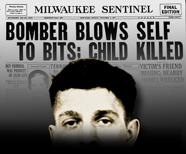 "21-year-old Hugh ""Idzy"" Rutkowski's bombing spree came to an horrific end on Nov. 3, 1935, when an even more powerful bomb detonated as he was assembling it. Also killed in the blast was Rutkowski's 16-year-old accomplice, Paul Chevanek, and a 9-year-old girl in a neighboring house. Only fragments of the two bombers were ever found. Photo illustration by Carl Swasnon"