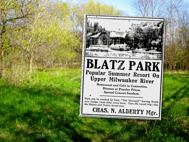 Pleasant Valley Park on the west bank of the Milwaukee River was once one of the city's most popular beer gardens. Owned by the Blatz brewery and visited by thousands, it featured elaborate landscaping, a restuarant, bandshell, pavilion, steamboat dock, and even a few cottages. In 2014, little remains to remind visitors of its glory days a century ago. Photo by Carl Swanson