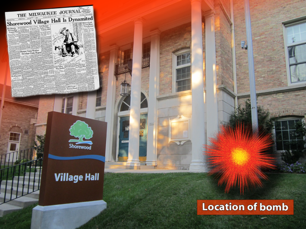 In 1935, Village Hall in Shorewood was damaged by a powerful explosion. It was the first of an eight-day wave of terror bombings that spread across Milwaukee. Photo illustration by Carl Swanson