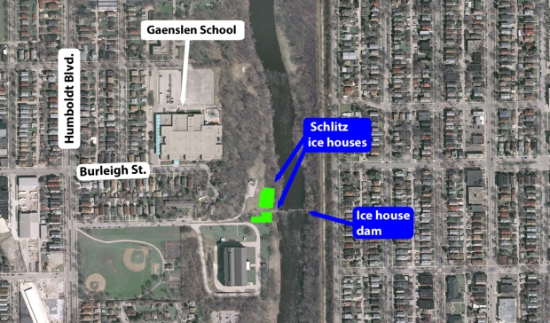 The location of the twin former Schlitz ice houses are overlaid on this modern satellite image. The century-old timber ice house dam is all that remains. Carl Swanson illustration