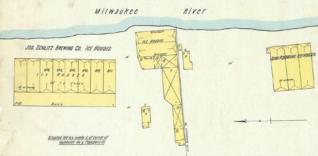 The group of Riverwest icehouses located on the riverbank northeast of the intersection of Humbolt and Chambers include the Schlitz complex, center and left, and a commercial ice dealer to the right. The municipal pumping station, located between the two companies, had not yet been built when this fire insurance diagram was drawn in 1894.