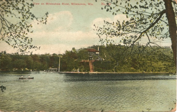 This postcard from around 1900 shows the Riverside pavilion on a hill overlooking the Milwaukee River. Stairs lead from the pavilion to a wide gravel path along the water's edge. Carl Swanson collection