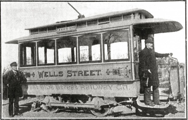 The Wells Street trolley replaced horse-drawn railcars.