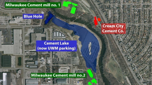 Before there was an Estabrook Park, the land on both sides of the Milwaukee River north of Capitol Drive was extensively quarried by two different cement companies and a manmade lake occupied what is today a UWM parking lot. Illustration by Carl Swanson