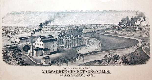 One-Hundred and thirty years ago, Estabrook Park was an immense cement quarry, the largest of its kind in the United States. Operates ceased but the impact on the land can still be seen. This illustration is from an 1890 booklet and shows the Milwaukee Cement Co. works on the upper Milwaukee River, north of Capitol Drive.