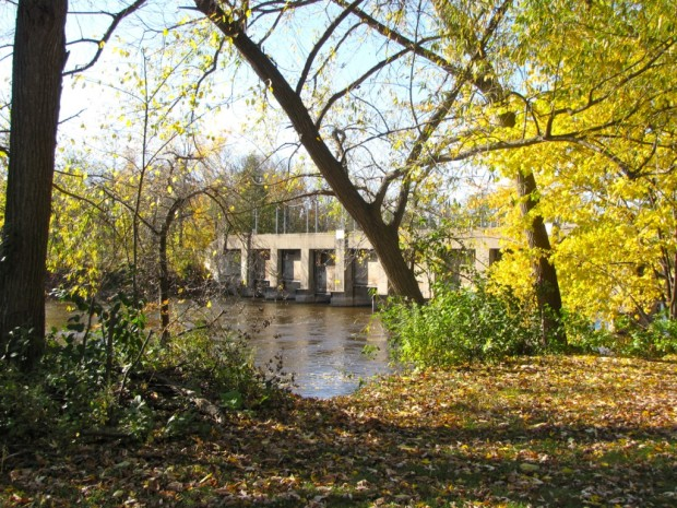 The Depression-era dam across the Milwaukee River in Estabrook Park. Photo by Carl Swanson