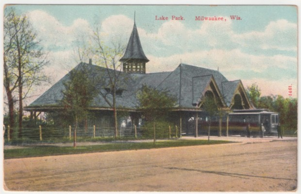 Milwaukee's extensive 19th century streetcar network included this elegant wooden deport in Lake Park. Collection of Carl Swanson