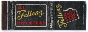 "The ship delivered a load of coal to the Fellenz Coal and Dock Co. under the Humboldt Boulevard bridge – as far up the Milwaukee River as a big lake freighter can get. This matchbook cover urges ""Let Fellenz fill your bins."" Carl Swanson collection"