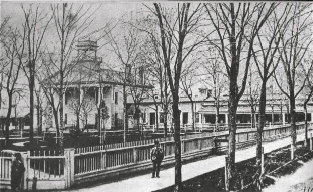 The first courthouse was built in 1836. Additional offices and a jail are to the right. This is the site of Cathedral Park today. Carl Swanson collection