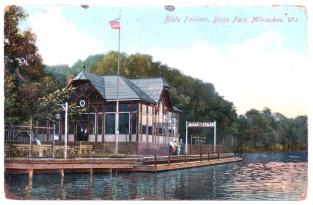A postcard view of the riverside pavilion at Blatz Park, as it appeared in the early 1900s. Carl Swanson collection