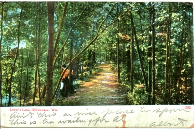 "This early 1900s postcard shows Milwaukee's ""lover's lane."" The card was mailed by a man named Albert to a Miss Evaline Beecher of Sauk City and reads, ""Ain't this a nice place to spoon. This is Eva waiting for Al."" Let's hope it worked out for those crazy kids, 106 years ago. Carl Swanson collection"