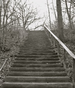 Once these stairs connected the riveredge pathway to Riverside Park's pavilion. Carl Swanson photo