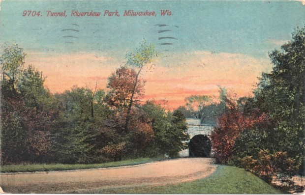 "Riverside Park once had a tunnel very much like this, and traces of its western portal remain in a hillside to this day. The postcard refers to a ""Riverview Park,"" a name shared by no Milwaukee park, leaving open the possibility this early 1900s photograph was actually a mis-captioned view of Riverside Park. Carl Swanson collection"