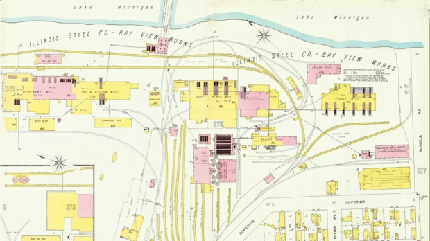 Renamed the Illinois Steel Co., the Bay View mill was still a massive operation in 1894. Sanborn-Parris Map Co. illustration