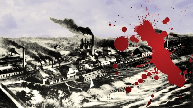 In May 1886, state militia soldiers fired on protestors during a labor dispute at the North Chicago Rolling Mill in Milwaukee's Bay View neighborhood. Carl Swanson illustration