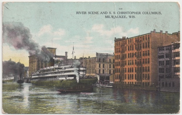 Tugboats stand by for and aft as the Christopher Columbus prepares to depart Milwaukee. Postcard collection of Carl Swanson