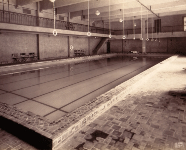 The Eagles Club 50 x 75-foot swimming pool, as it appeared shortly after the building opened in 1927. A popular music venue today, the Milwaukee Eagles Club originally combined social and athletic facilities.