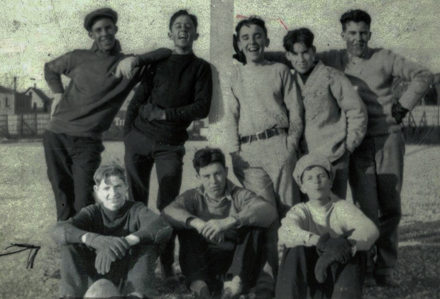 Francis Wren, seated lower left, photographed in May 1927. Four months later he died in the basement swimming pool at Milwaukee's Eagles Club. Photo courtesy AnnEllen Barr