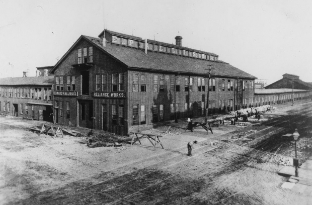 The E.P. Allis Reliance Works complex stood at First and Florida streets in Milwaukee. The company manufactured grain milling machinery at a time and gee rapidly as Milwaukee gained prominence as a world leader in flour production.