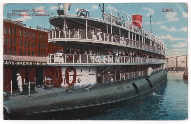 This postcard shows the stern of the