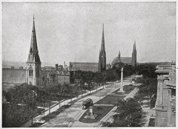 More than 100 years have passed since this photo was taken from the roof of the Milwaukee Public Library. All three of these Wisconsin Avenue churches still stand, From left to right, they are: St. James Episcopal, Calvary Presbyterian Church, and the Church of the Gesu on the Marquette University campus. Collection of Carl Swanson