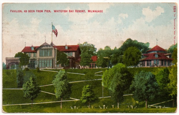 In the 1880s, Captain Frederick Pabst built an elegant resort on 200 acres overlooking Lake Michigan. The beer garden included the Hotel Bellevue, shown here, amusement rides, a restaurant, live music, and, of course, plenty of cold lager. Postcard collection of Carl Swanson