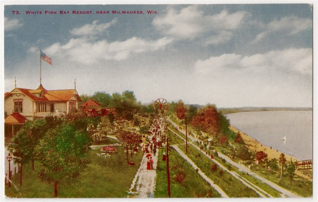 A long switchback sidewalk connected the resort's pier on Lake Michigan with the park grounds atop the high bluff. If nothing else, the climb was good for working up a thirst. Carl Swanson collection