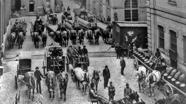 Horse-drawn delivery wagons at the, Schlitz brewery, around 1900. Library of Congress Prints and Photographs Division